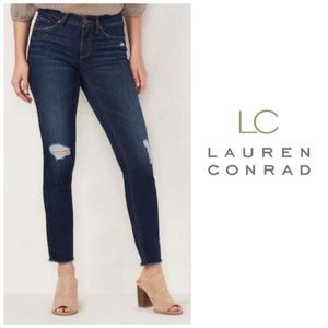 LC Lauren Conrad Dark Ripped Skinny Jeans Sz 6 NWT